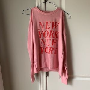 NEW pink New York cold shoulder sweater